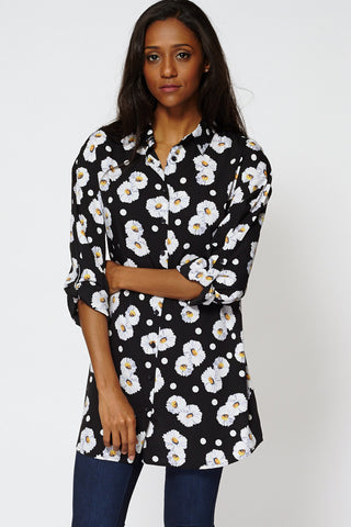 Floral Print Button Up Shirt Dress-Floral-12