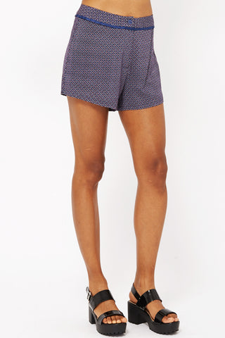 Printed High Waisted Shorts -Blue -UK 14 - EU 42
