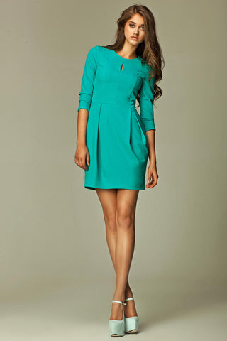 Mint Green Pleated Key Hole 3/4 Inch Sleeved Dress
