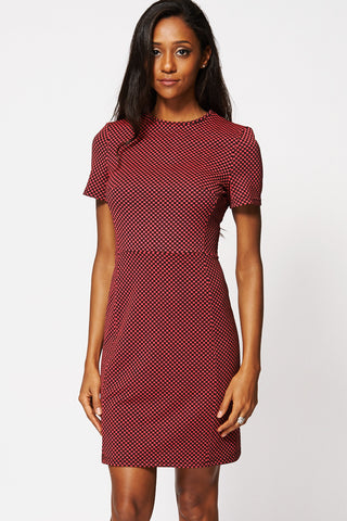 Patterned Short Sleeve Sheath Dress-Pink-14