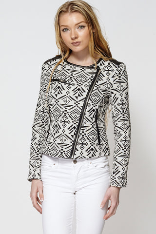 Aztec Print Asymmetric Zip Fastening Short Jacket-Black-L