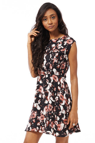 Skater Dress With Floral Print Detail-Black-XSmall - UK (6-8)