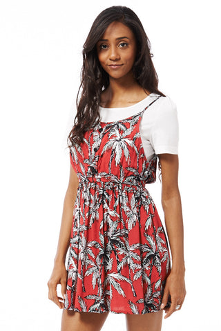 Skater Dress With Palm Tree Print-Blue -Medium - (UK 10)