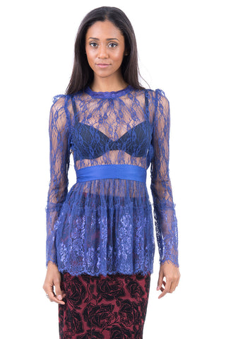 Frill Lace Tunic-Blue-UK 12 - EU 40