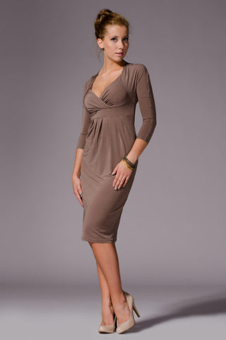 3/4 Inch Sleeve Mocha Empire Waist V-Neck Dress