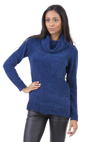 Cowl Neck Long Sleeve Jumper-Blue-Small - UK (8-10)