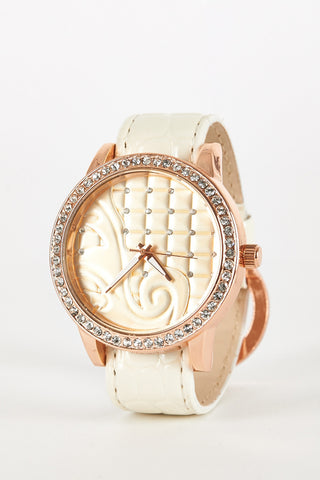 Wide Face Faux Crocodile Skin Watch-Cream