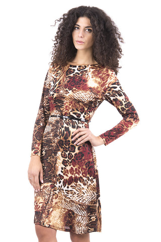 Fully Lined Animal Print Stretchy Dress with Belt -Brown-UK 6 - EU 34