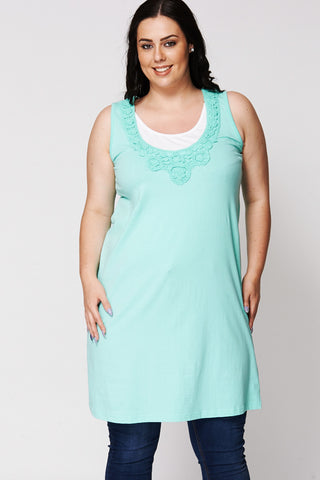 Layered Scoop-neck Tunic With Crochet Detail-Mint-UK 28/30 - EU 56/58