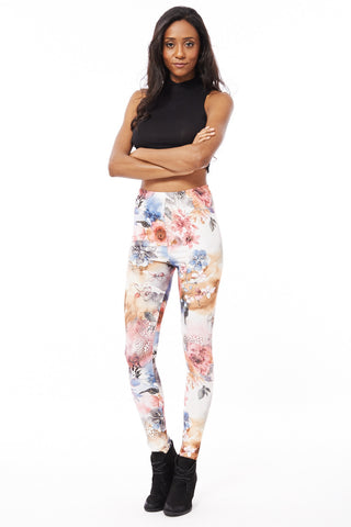Floral Leggings with Gold Pattern Detail-White-One Size - UK (8-14)