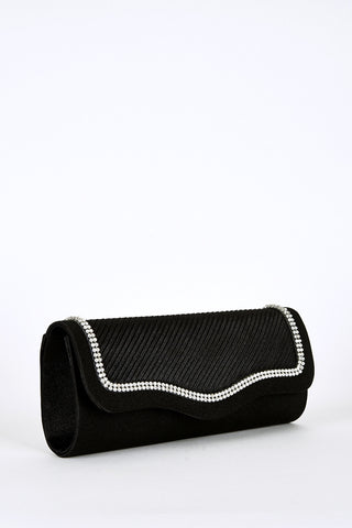 Pleated Wave Flap Clutch Bag-Black