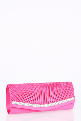 Creased Clutch Bag With Diamante Detail-Fuchsia