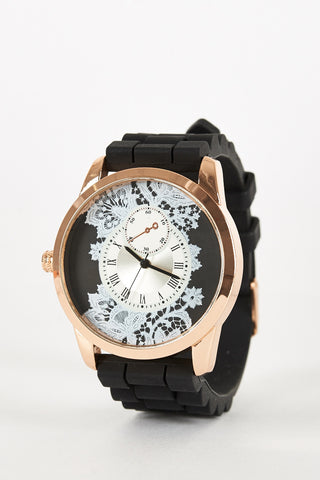 Floral Design Silicone Strap Watch-Peach
