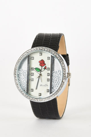 Watch with Rose Design and Loose Beads-Black
