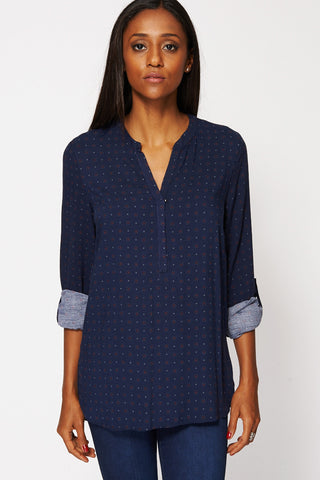 Blue Printed Detail Dipped Hem Top Available in Plus Sizes-Navy-UK 20 - EU 48