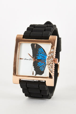 Butterfly Design With Diamante Side Detail Watch-Black