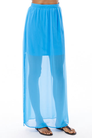Blue Chiffon Maxi Skirt-Blue-UK 12 - EU 40