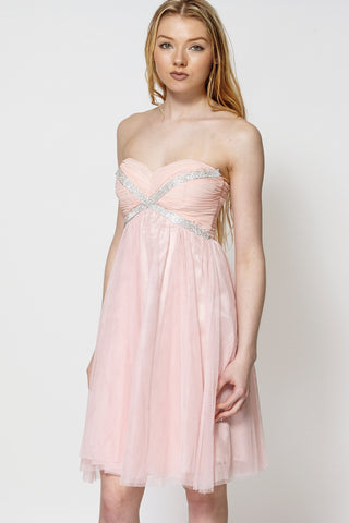 Draped Embellished Top High Waist Pleated Swing Dress-Pink-L