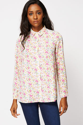 Floral Print Long Sleeved Dipped Hem Shirt-Cream-UK 12 - EU 40