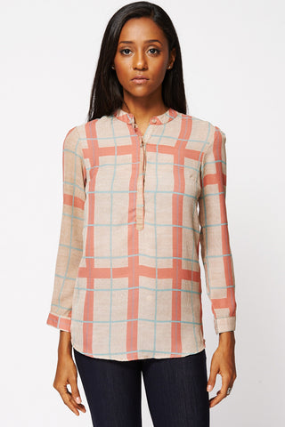 Checked Button-Up Mandarin Collar Blouse Ex-Branded-Beige-UK 16 - EU 44
