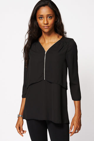 Black Zip Detail Layered Chiffon Blouse Ex-Branded-Black-UK 14 - EU 42