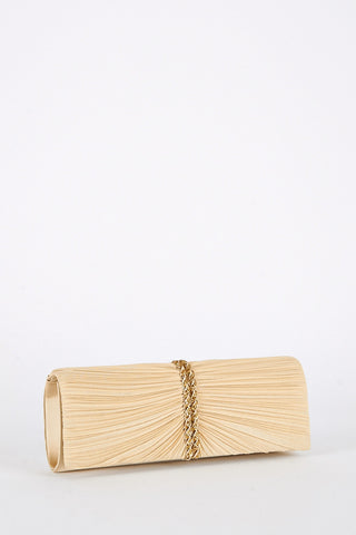 Pleated and Diamante Design Evening Clutch Bag-Gold