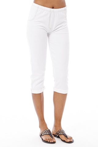 White Cropped Jeggings-White -Small - UK (6-8)