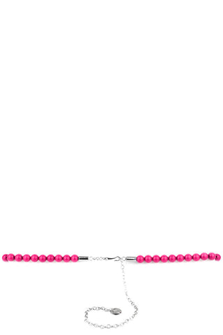 Beads Belt with Chain Detail-Pink-Length - 75cm