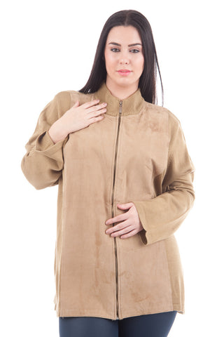 Long Sleeve Cardigan With Faux Suede Detail -Beige-3X - UK 20 - EU 48