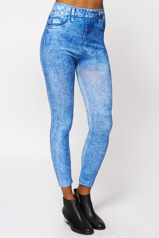 Acid Wash Jean Detail Thermal Leggings-Blue -One Size - UK (6-12)