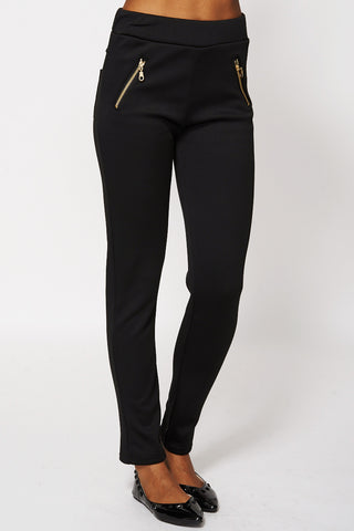 Zip Detail Fleece Jeggings-Black-S