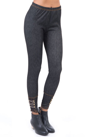Lace And Diamond Detail Jeggings-Black-One Size - UK (8-12)