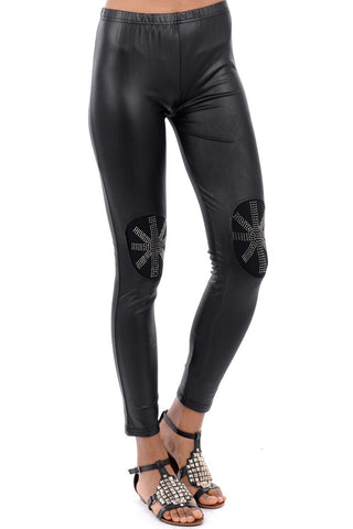 Wet Look Diamante Leggings