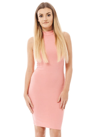 Iris Ribbed Cutaway Neckline Bodycon Dress-Nude-UK 14 - EU 42