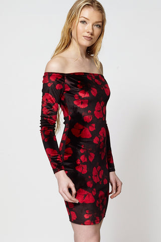Floral Print Off Shoulder Velour Bodycon Dress Ex-Branded-Floral-14