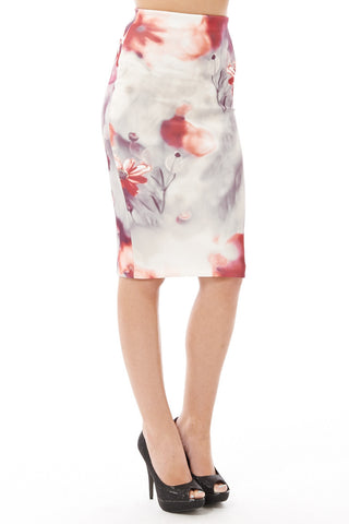 Gorgeous Floral Scuba Midi Skirt - Available in Plus Sizes-Multi-UK 14 - EU 42