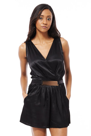 Black Silk Look Playsuit With Gold Buckle-Black-UK 4 - EU 32
