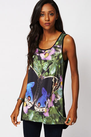 Butterfly  Print Diamante Sleeveless Top-Black-One Size (UK10-16)