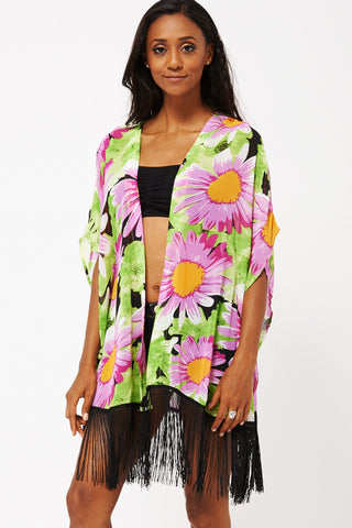 Flower Print Kimono With Tassels -Green-X Large- UK (14-16)