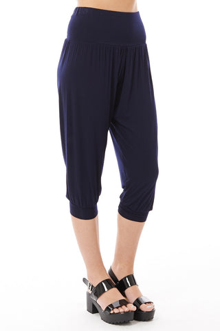 3/4 Harem Trousers-Navy-S/M - UK (8-10)