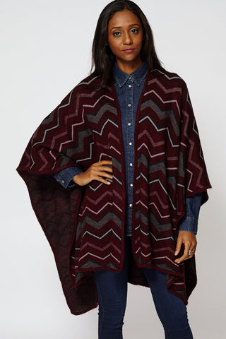 Knitted Zig Zag Print Open Poncho Cape-Burgundy-One Size