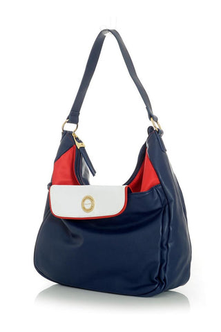 Dark Blue Satchel Handbag with Red Interior and White Accents