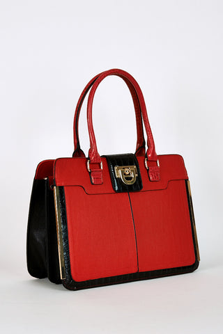 Snakeskin Print Double Interior Rigid Handbag In Red-Red