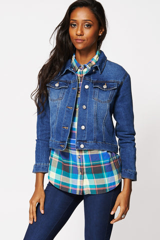 Blue Faded Short Denim Jacket-Blue -L