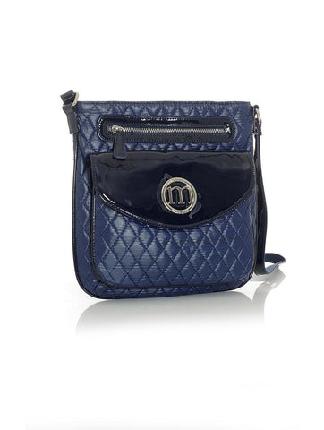 Dark Blue Quilted Everyday Handbag with Navy Blue Trim