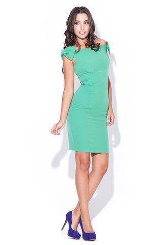 Mint Green Above Knee Bow Sleeve Body Con Dress