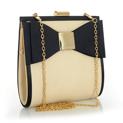 Cream Snakeprint Inspired Bow Handbag with Gold Accents