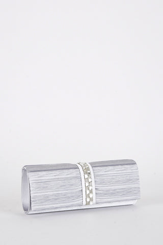 Satin and Diamante Detail Clutch Bag-Ivory