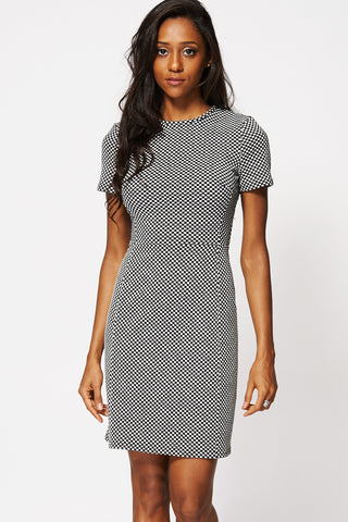 Monochrome Patterned Short Sleeve Sheath Dress-Black-16