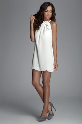 Off White Haltered Tunic Dress